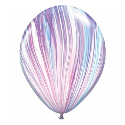 Paars-blauw-wit gestreepte marmerballon