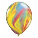Blauw-geel-rode marmerballon