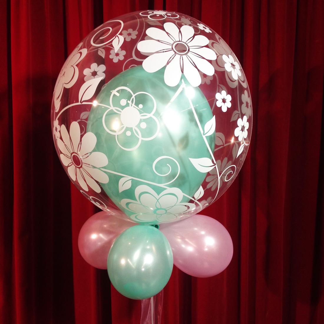 Ballondecoratie - Kleine bubbelballon met bloemenmotief